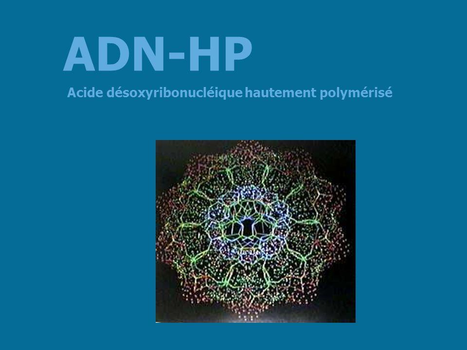 Étude ouverte ADN-HP 400 mg/j + complexe de vitamines B + vitamine E pendant 1 ou 2 mois 2960 personnes atteintes darthrose, dâge moyen de 61,1 ans Traitement par ADN-HP dés le premier mois dadministration douleurs dans 89,5 % des cas – 21 % de soulagement complet – 68,5 % de soulagement partiel performances physiques dans 83,6 % des cas Action chondrostimulante (1) Acide désoxyribonucléique hautement polymérisé ADN-HP