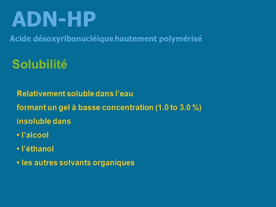 Métabolisme demi-vie de 72 heures chez le rat élimination à 96 heures : fécale à 62,8 % et urinaire à 19,4 % dégradation hépatique en mononucléotides élimination biliaire lintestin paraît retenir des fractions polymérisées de lADN et se saturer rapidement en fraction de bas poids moléculaire le tissu lymphatique semble accumuler les fractions polymérisées de lADN puis les libérer rapidement dans le sang veineux Acide désoxyribonucléique hautement polymérisé ADN-HP