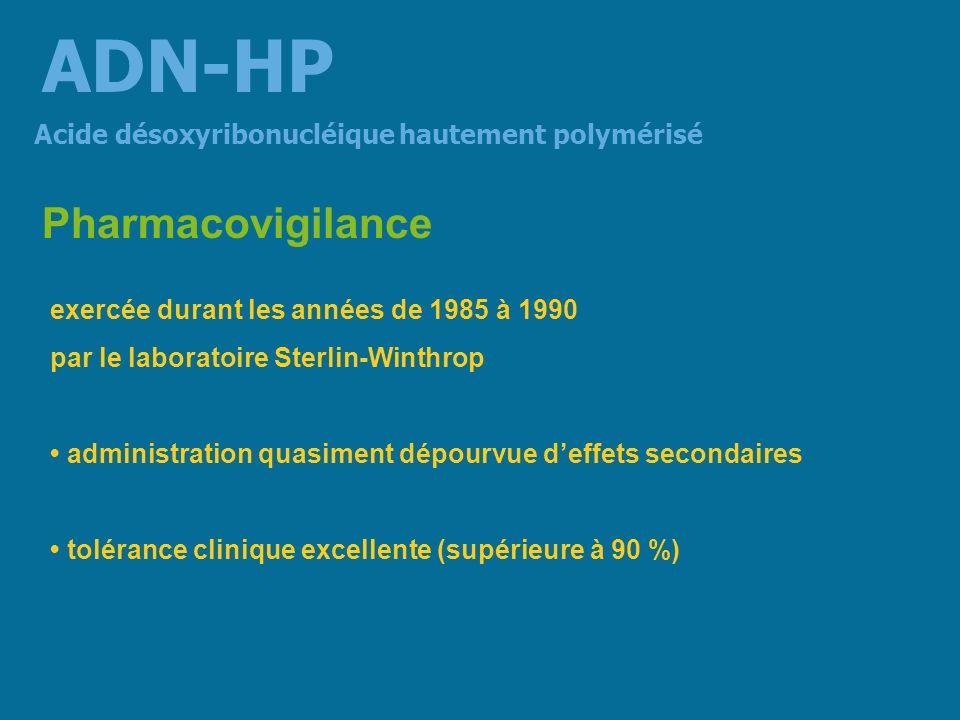 Essai clinique ouvert : ADN-HP 800 mg/j pendant 1 mois 24 personnes de plus de 50 ans présentant une asthénie dont - 16 une anorexie - 8 un alcoolisme chronique Effet antiasthénique (7) Acide désoxyribonucléique hautement polymérisé ADN-HP