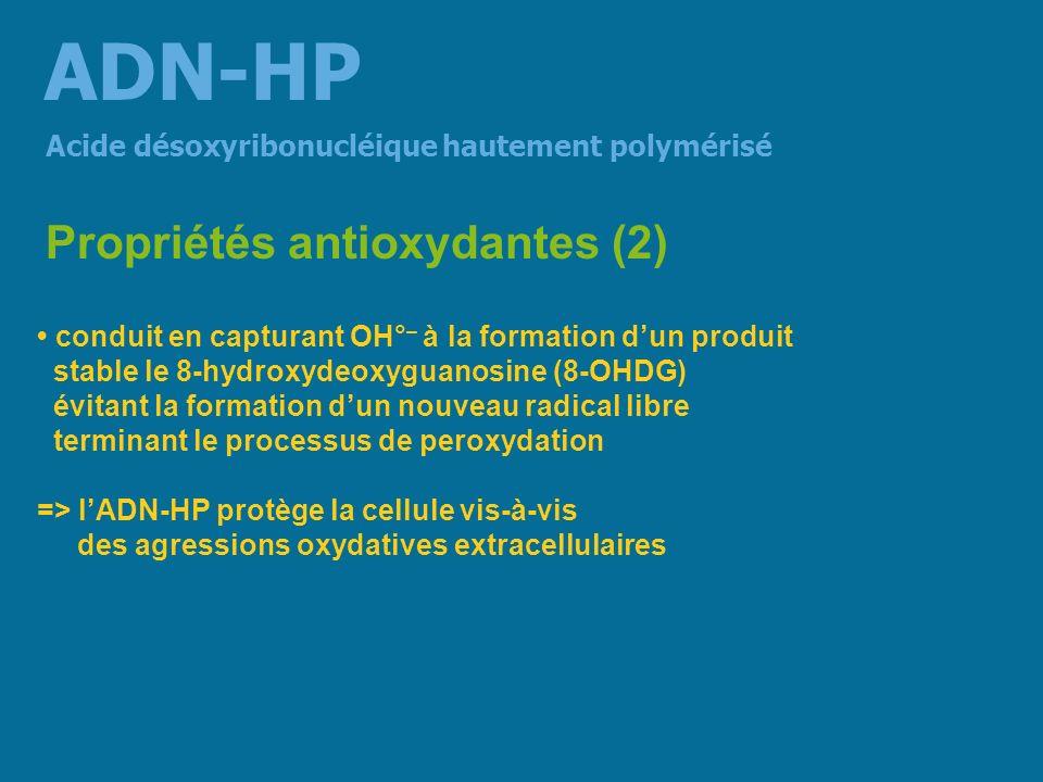 Étude clinique multicentrique en double aveugle 116 patients rachialgies essentielles chroniques > 1 mois ADN-HP 800 mg/j pendant 30 j versus placebo Traitement par ADN-HP 43,6 % intensité douloureuse mesurée par léchelle visuelle de Huskinson (versus 25,4 % sous placebo) 32,6 % degré de gêne fonctionnelle (handicap) (versus 25,5 % sous placebo) 43, 3 % limportance de la limitation à la mobilisation passive du rachis (versus 26,9 % sous placebo) Effet sur les arthralgies essentielles (1) Acide désoxyribonucléique hautement polymérisé ADN-HP