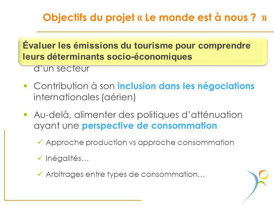 Objectifs du projet « Le monde est à nous ? » Connaissance et sensibilisation sur les émissions dun secteur Contribution à son inclusion dans les négo