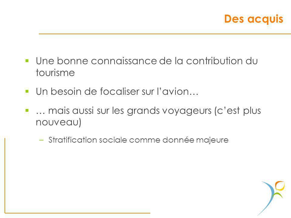 Des acquis Une bonne connaissance de la contribution du tourisme Un besoin de focaliser sur lavion… … mais aussi sur les grands voyageurs (cest plus n