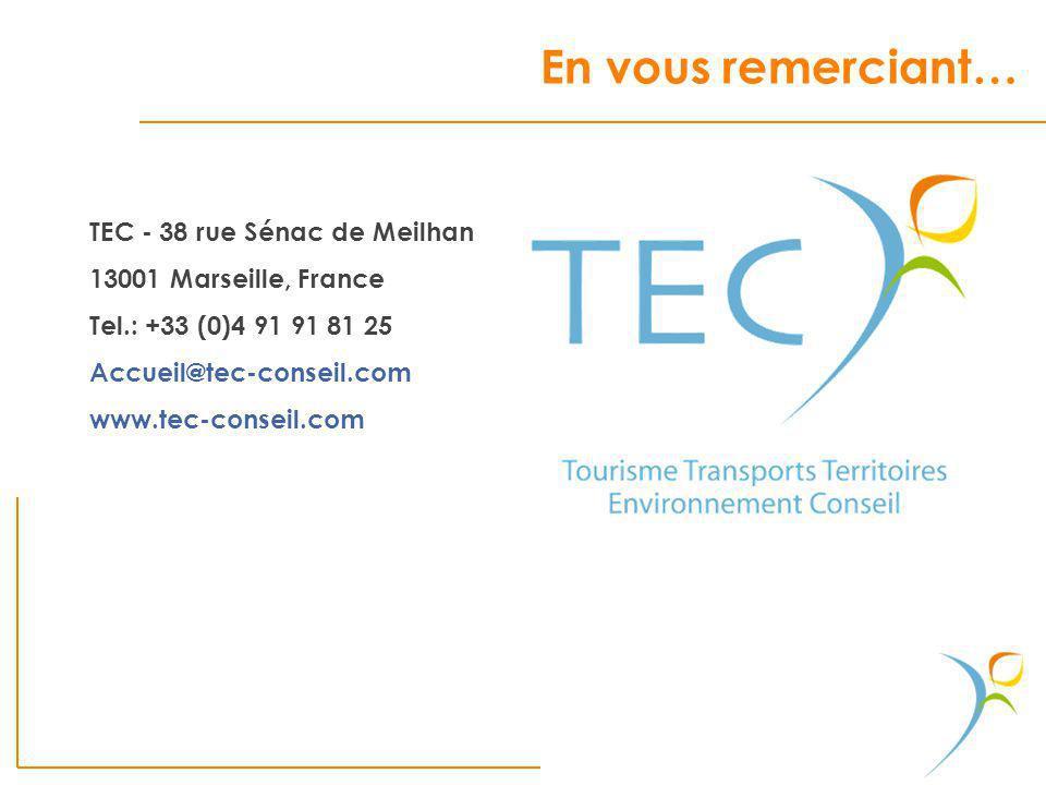 TEC - 38 rue Sénac de Meilhan 13001 Marseille, France Tel.: +33 (0)4 91 91 81 25 Accueil@tec-conseil.com www.tec-conseil.com En vous remerciant…