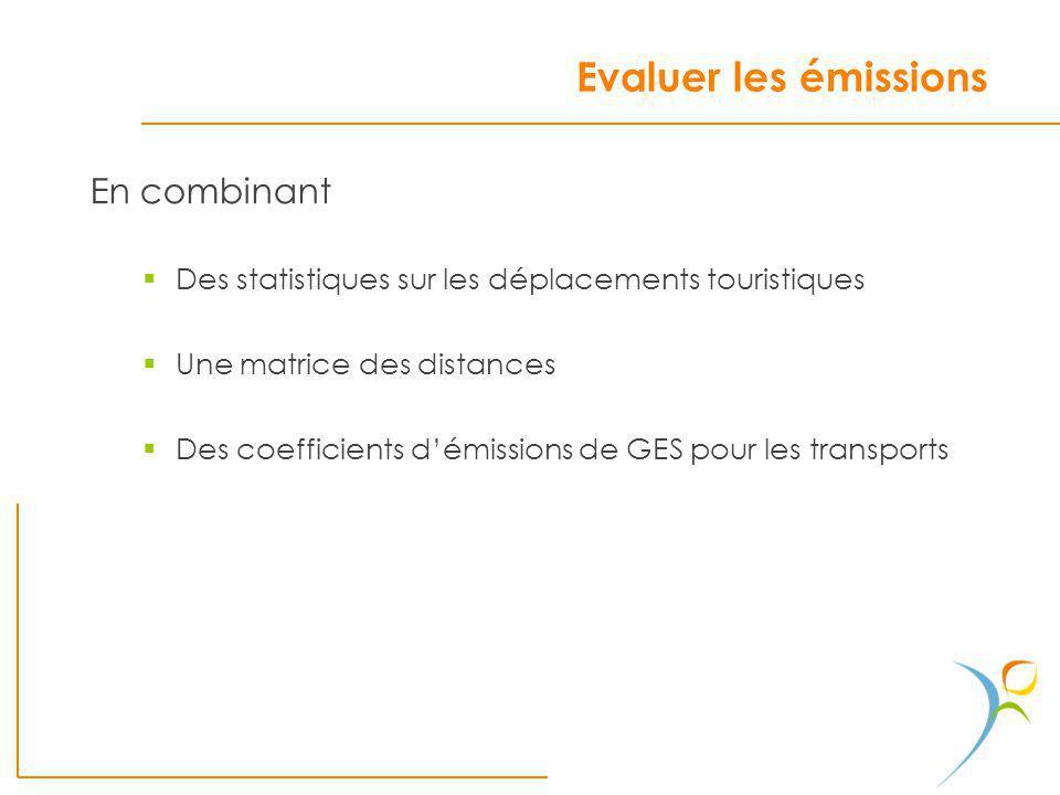 Evaluer les émissions En combinant Des statistiques sur les déplacements touristiques Une matrice des distances Des coefficients démissions de GES pou