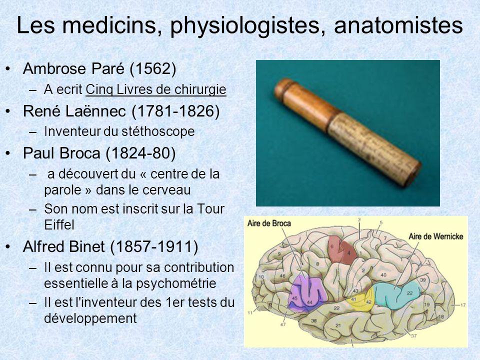 Les medicins, physiologistes, anatomistes Ambrose Paré (1562) –A ecrit Cinq Livres de chirurgie René Laënnec (1781-1826) –Inventeur du stéthoscope Pau