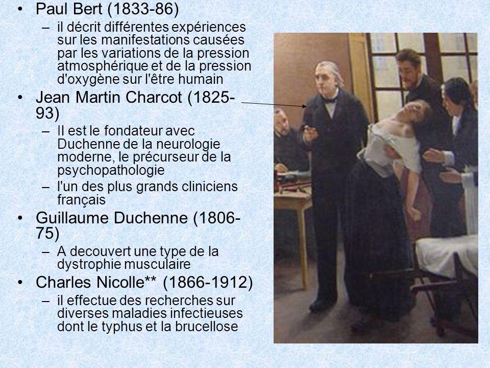 Paul Bert (1833-86) –il décrit différentes expériences sur les manifestations causées par les variations de la pression atmosphérique et de la pressio