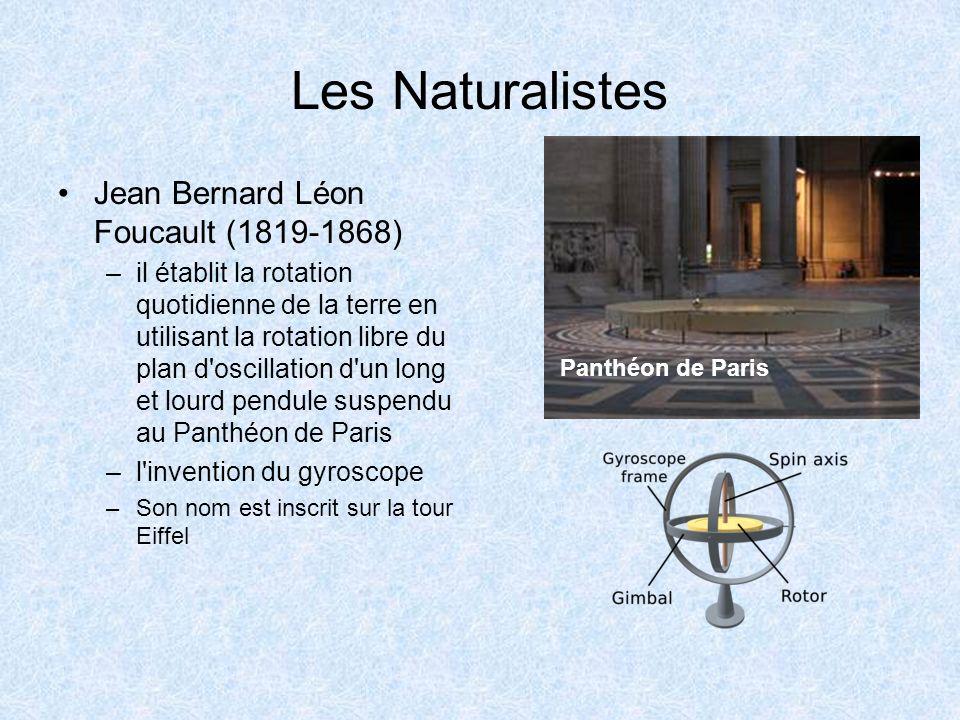 Les Naturalistes Jean Bernard Léon Foucault (1819-1868) –il établit la rotation quotidienne de la terre en utilisant la rotation libre du plan d'oscil