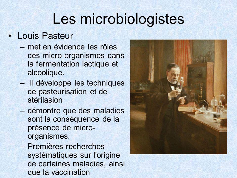 Les microbiologistes Louis Pasteur –met en évidence les rôles des micro-organismes dans la fermentation lactique et alcoolique. – Il développe les tec