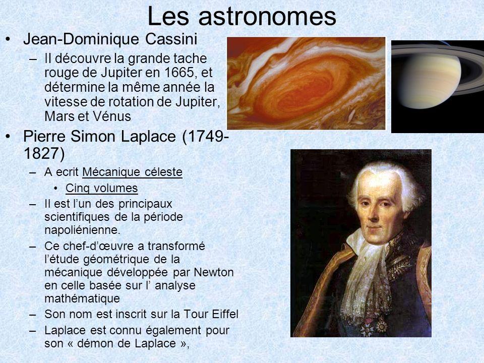 Les astronomes Jean-Dominique Cassini –Il découvre la grande tache rouge de Jupiter en 1665, et détermine la même année la vitesse de rotation de Jupi