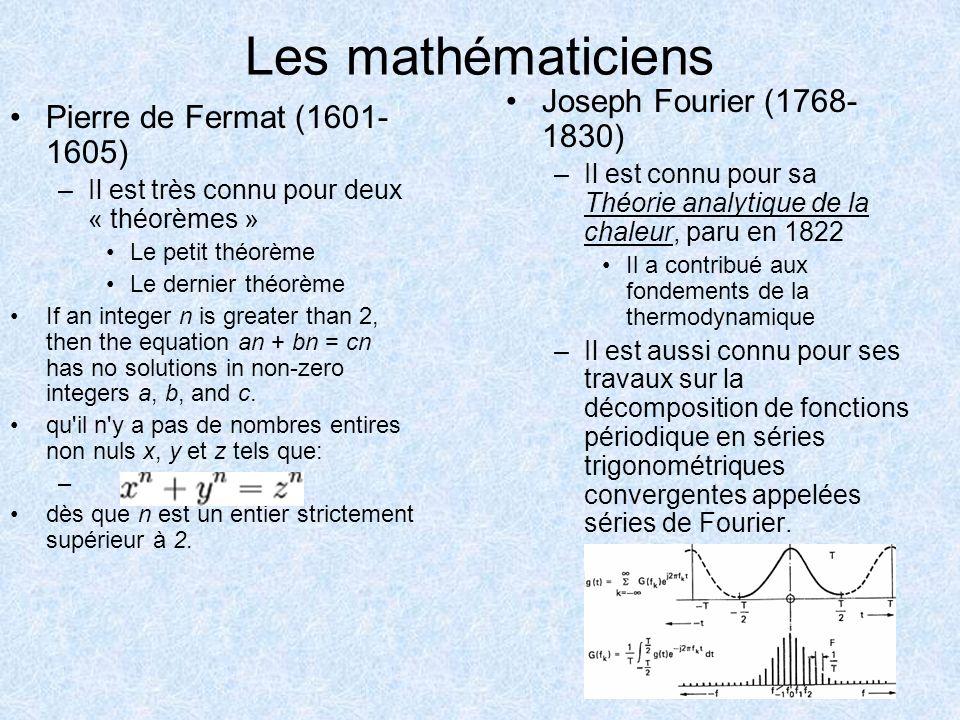 Les mathématiciens Pierre de Fermat (1601- 1605) –Il est très connu pour deux « théorèmes » Le petit théorème Le dernier théorème If an integer n is g