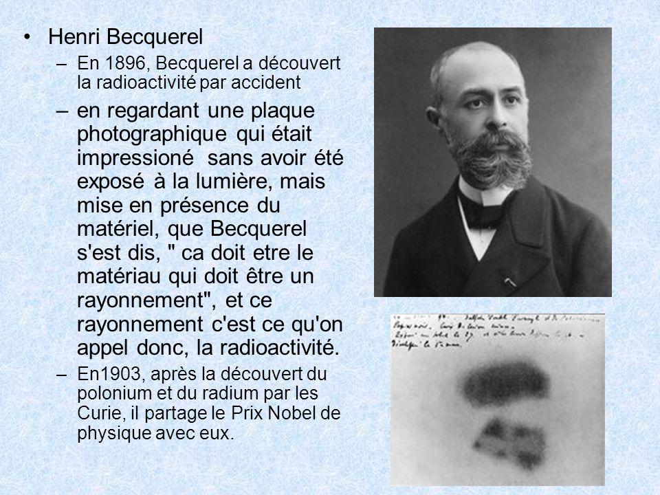 Henri Becquerel –En 1896, Becquerel a découvert la radioactivité par accident –en regardant une plaque photographique qui était impressioné sans avoir