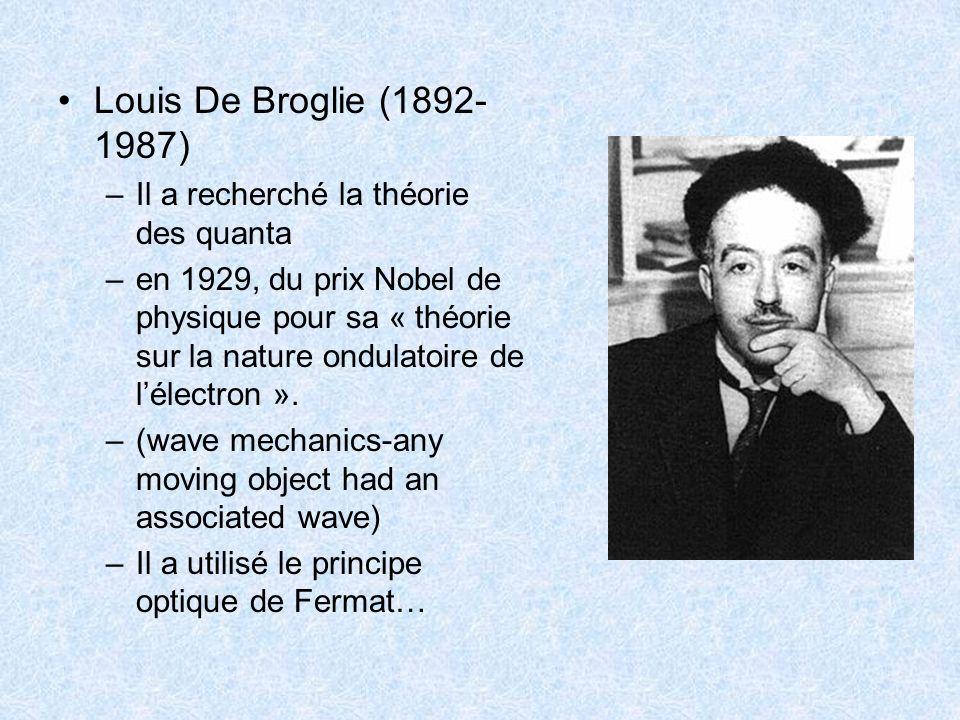 Louis De Broglie (1892- 1987) –Il a recherché la théorie des quanta –en 1929, du prix Nobel de physique pour sa « théorie sur la nature ondulatoire de