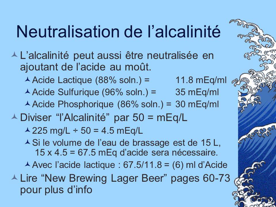 Neutralisation de lalcalinité Lalcalinité peut aussi être neutralisée en ajoutant de lacide au moût. Acide Lactique (88% soln.) = 11.8 mEq/ml Acide Su