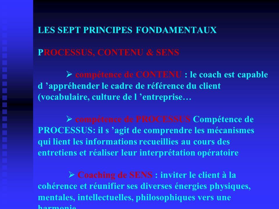LES SEPT PRINCIPES FONDAMENTAUX LES SEPT PRINCIPES FONDAMENTAUX PROCESSUS, CONTENU & SENS compétence de CONTENU : le coach est capable d appréhender l