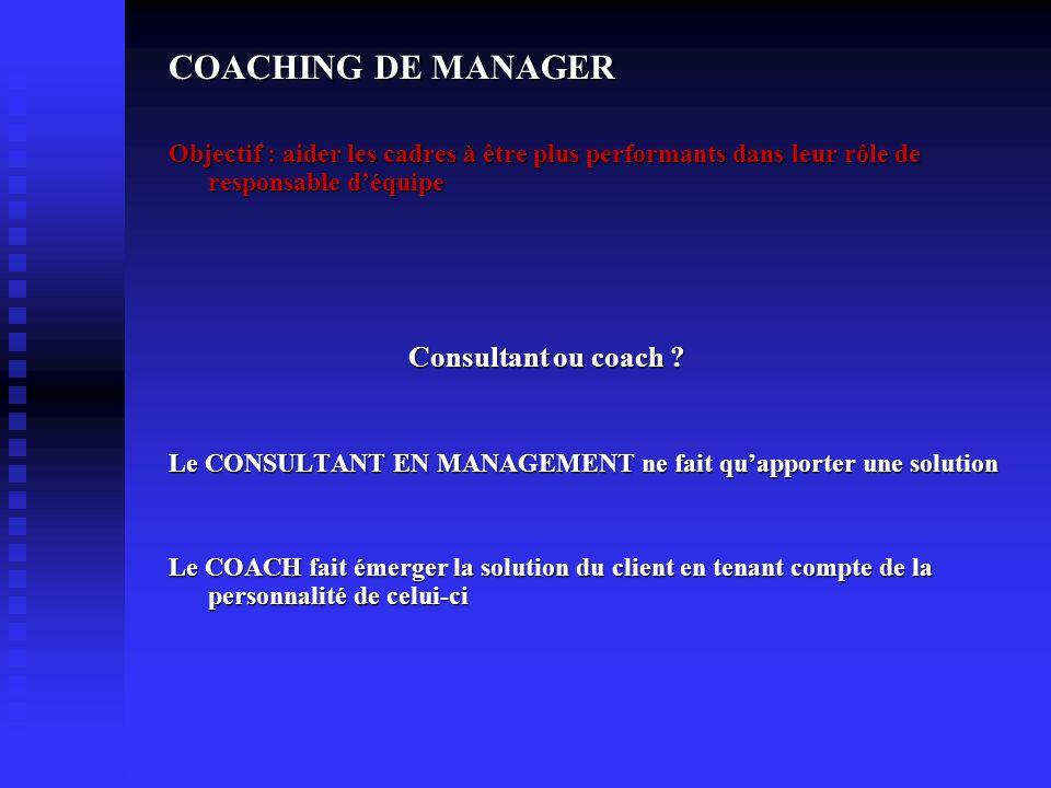 COACHING DE MANAGER Objectif : aider les cadres à être plus performants dans leur rôle de responsable déquipe Consultant ou coach ? Consultant ou coac