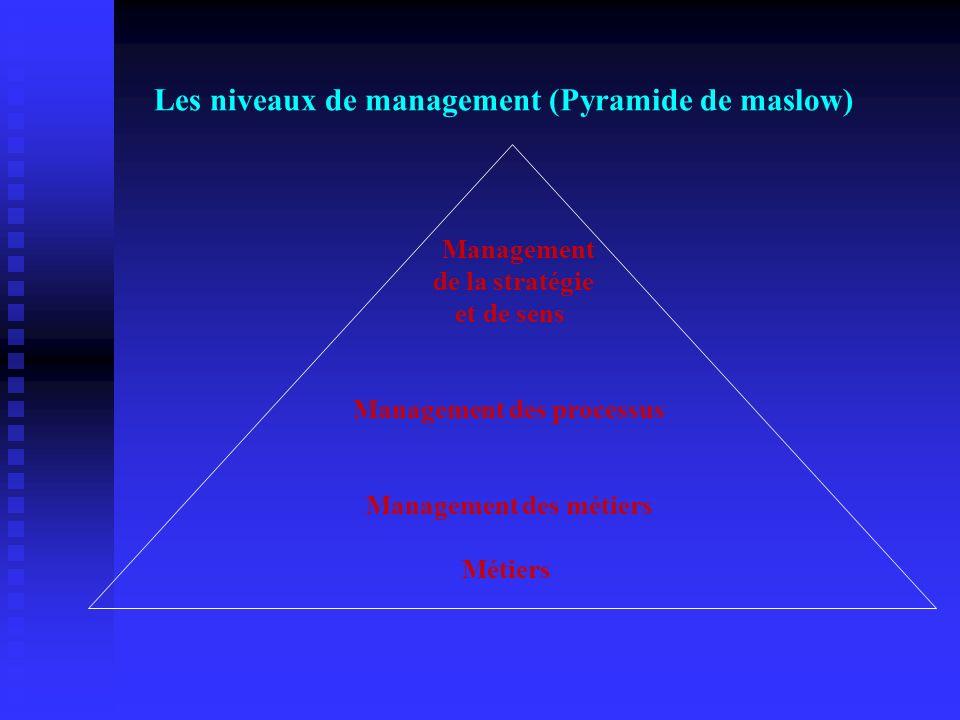 Les niveaux de management (Pyramide de maslow) Management de la stratégie et de sens Management des processus Management des métiers Métiers