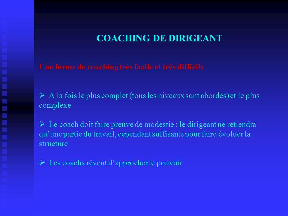 COACHING DE DIRIGEANT Une forme de coaching très facile et très difficile Ø A la fois le plus complet (tous les niveaux sont abordés) et le plus compl