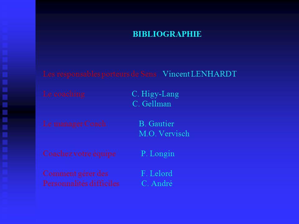 BIBLIOGRAPHIE Les responsables porteurs de SensVincent LENHARDT Le coaching C. Higy-Lang C. Gellman Le manager Coach B. Gautier M.O. Vervisch Coachez