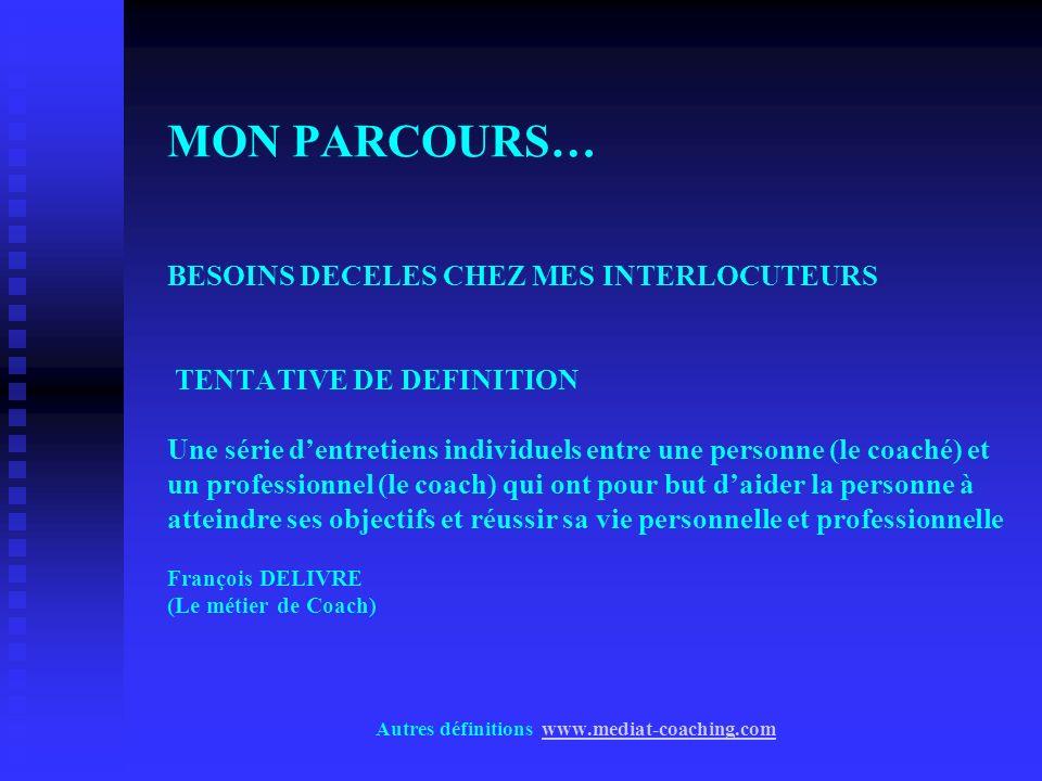 MON PARCOURS… BESOINS DECELES CHEZ MES INTERLOCUTEURS TENTATIVE DE DEFINITION Une série dentretiens individuels entre une personne (le coaché) et un p