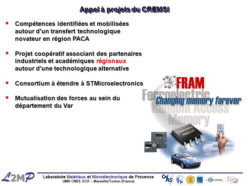 Laboratoire Matériaux et Microélectronique de Provence UMR CNRS 6137 – Marseille/Toulon (France) Appel à projets du CREMSI Compétences identifiées et