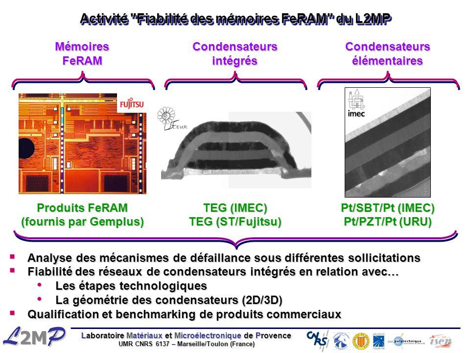 Laboratoire Matériaux et Microélectronique de Provence UMR CNRS 6137 – Marseille/Toulon (France) Analyse des mécanismes de défaillance sous différente