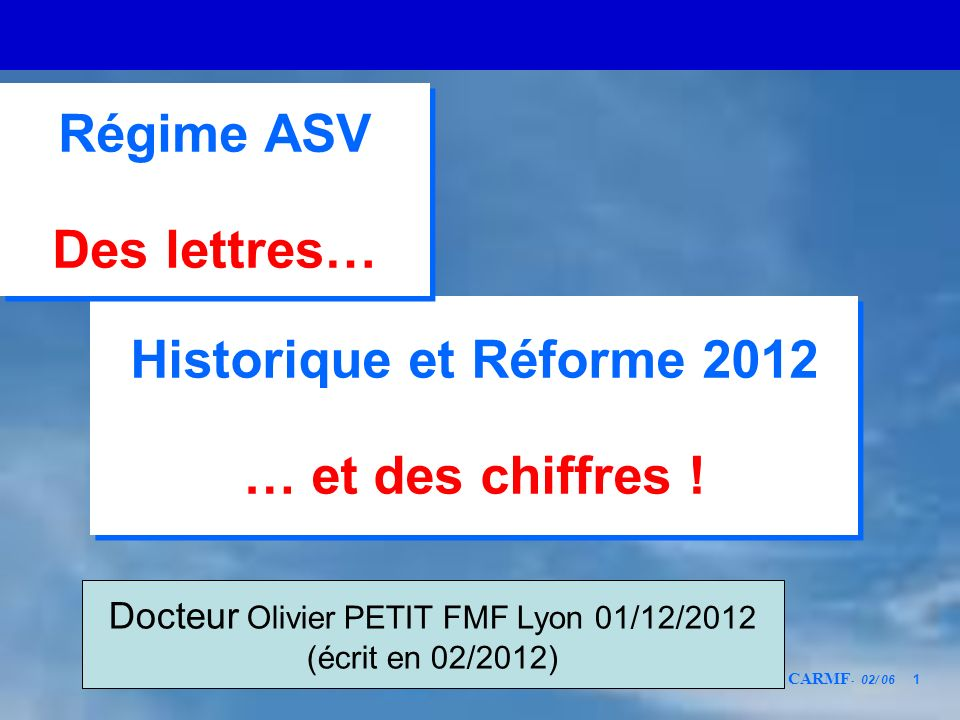 CARMF - 02/ 06 1 Historique et Réforme 2012 … et des chiffres ! Historique et Réforme 2012 … et des chiffres ! Régime ASV Des lettres… Régime ASV Des