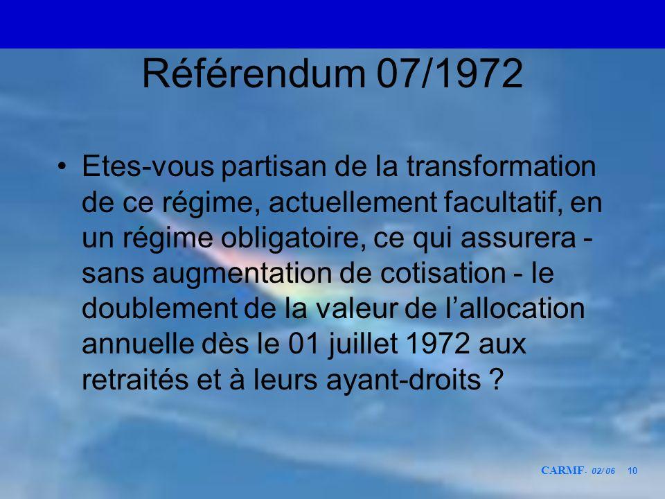 CARMF - 02/ 06 10 Référendum 07/1972 Etes-vous partisan de la transformation de ce régime, actuellement facultatif, en un régime obligatoire, ce qui a
