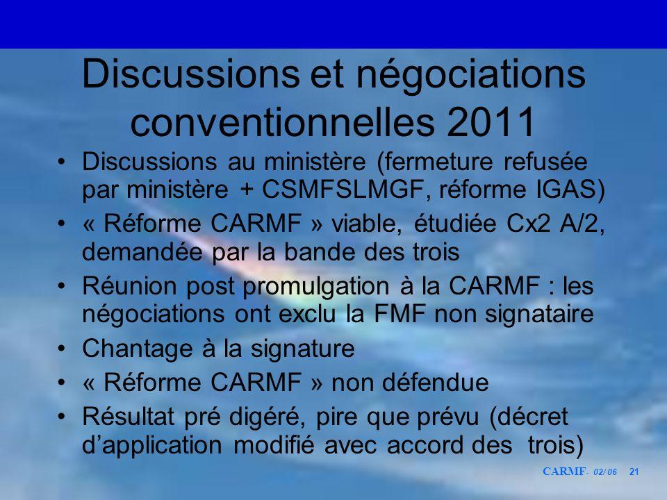 CARMF - 02/ 06 21 Discussions et négociations conventionnelles 2011 Discussions au ministère (fermeture refusée par ministère + CSMFSLMGF, réforme IGA