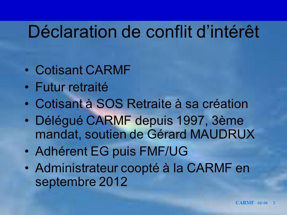 CARMF - 02/ 06 3 Déclaration de conflit dintérêt Cotisant CARMF Futur retraité Cotisant à SOS Retraite à sa création Délégué CARMF depuis 1997, 3ème m