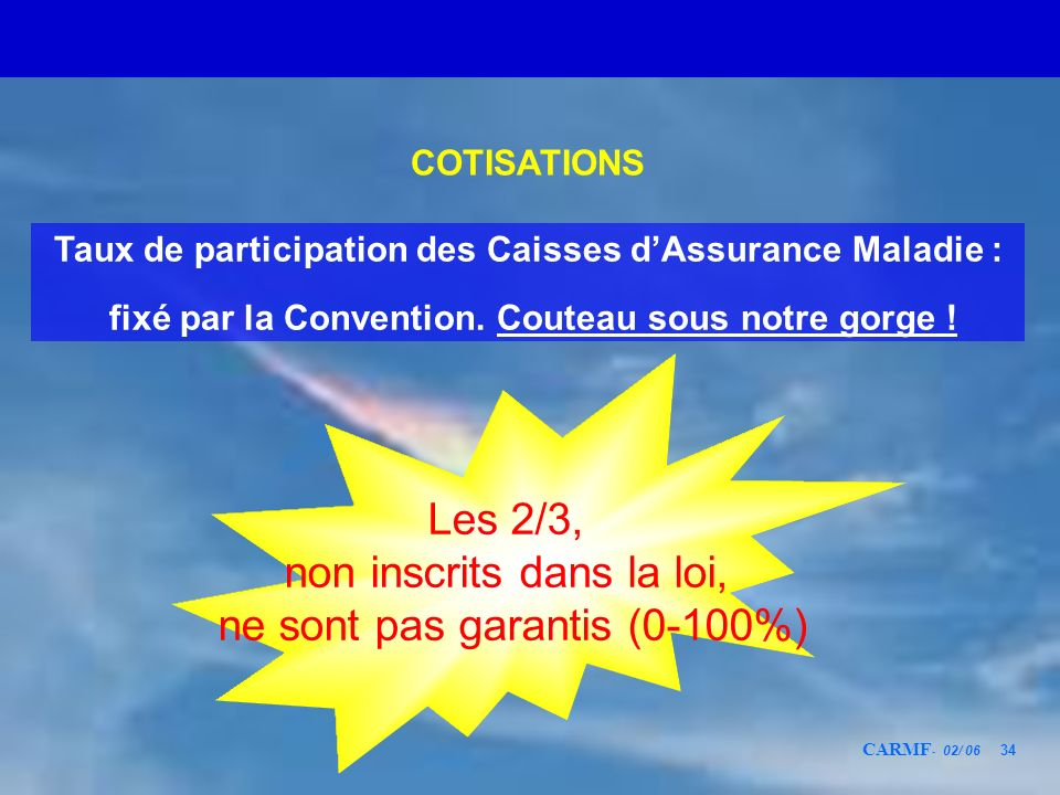 CARMF - 02/ 06 34 COTISATIONS Taux de participation des Caisses dAssurance Maladie : fixé par la Convention. Couteau sous notre gorge ! Les 2/3, non i