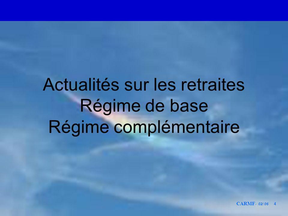 CARMF - 02/ 06 4 Actualités sur les retraites Régime de base Régime complémentaire