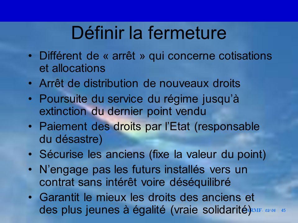 CARMF - 02/ 06 45 Définir la fermeture Différent de « arrêt » qui concerne cotisations et allocations Arrêt de distribution de nouveaux droits Poursui