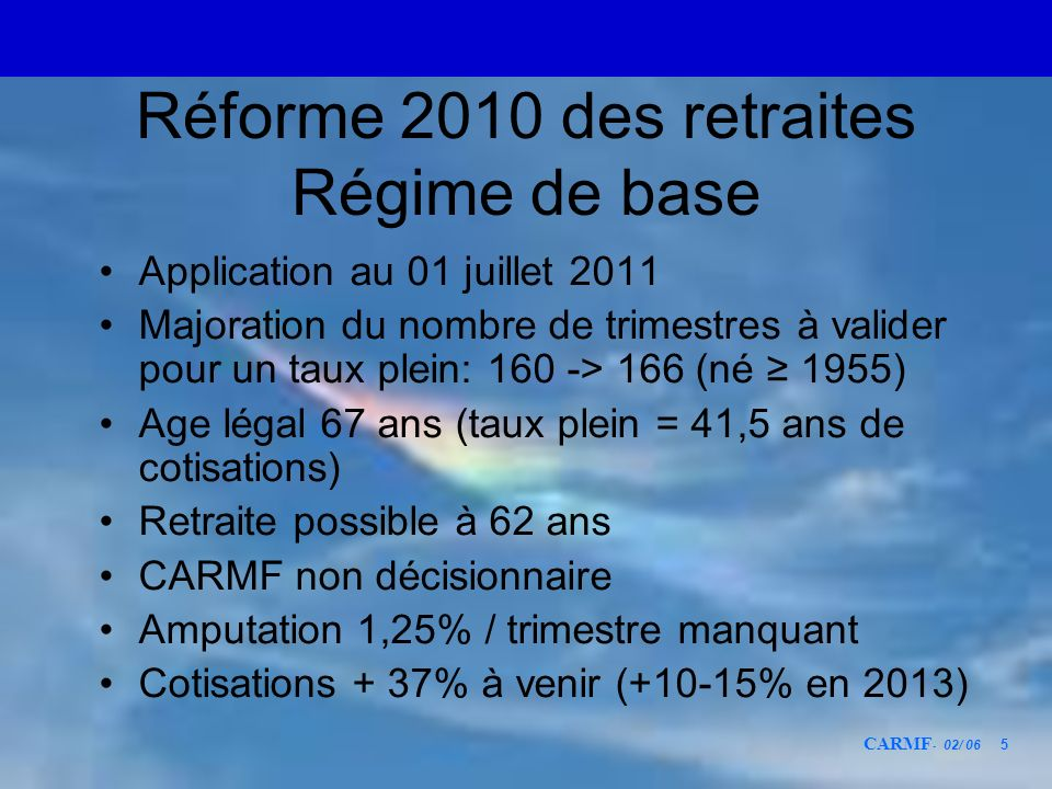 CARMF - 02/ 06 26 Coût du point en cotisation forfaitaire 197254 C30 points1,8 C/point 2011180 C27 points6,7 C/point Réforme en 2016 Pas en C 4850 27 points7,8 C/point 1972 -> 2016Coût du pointmultiplié par4,33