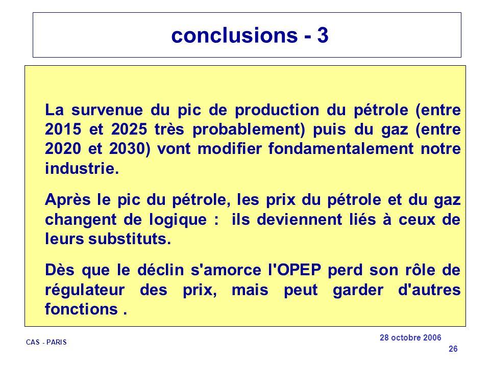 28 octobre 2006 CAS - PARIS 26 conclusions - 3 La survenue du pic de production du pétrole (entre 2015 et 2025 très probablement) puis du gaz (entre 2