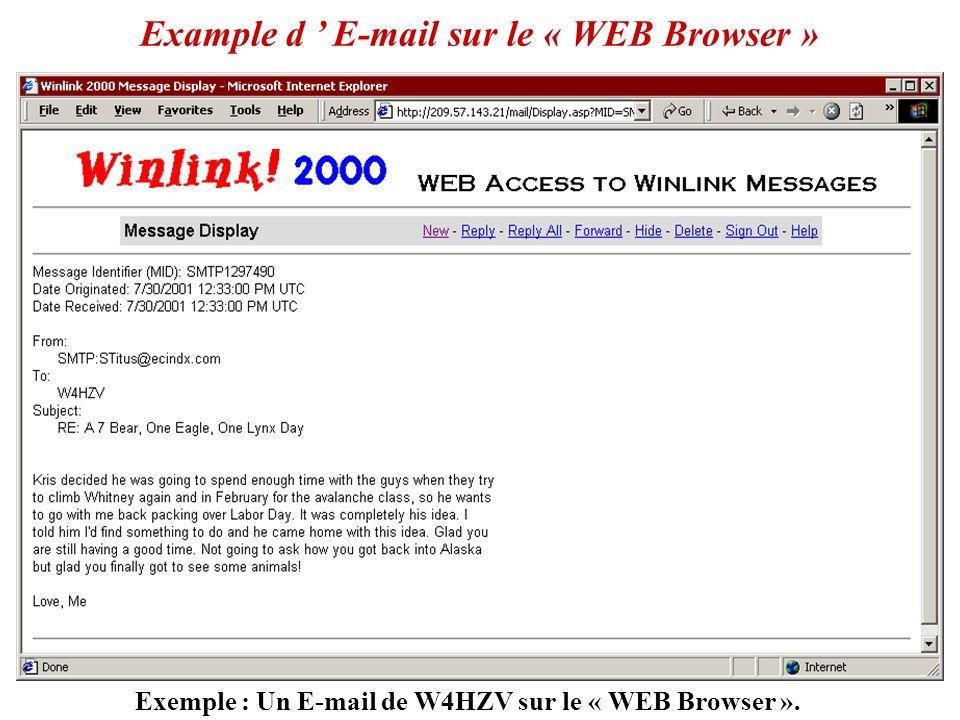 Exemple : E-mails pour W4HZV sur le WEB Browser Gestion de des E-mail sur le « WEB Browser »