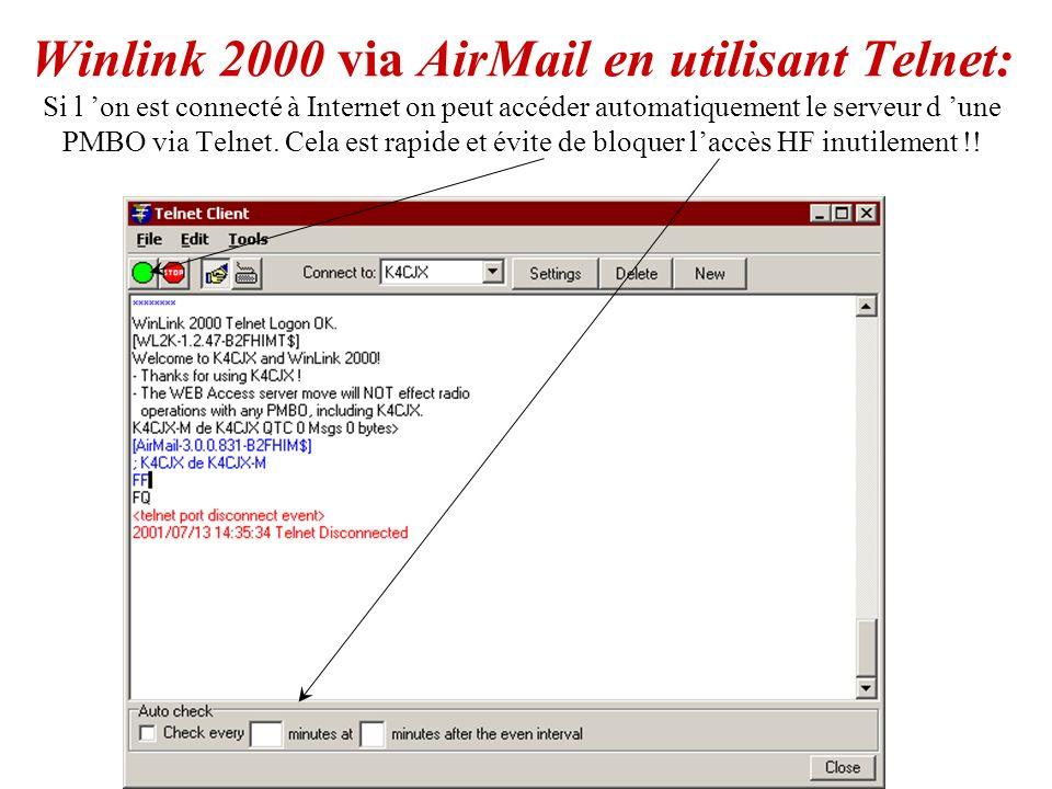 Exemple : Un E-mail de W4HZV sur le « WEB Browser ». Example d E-mail sur le « WEB Browser »