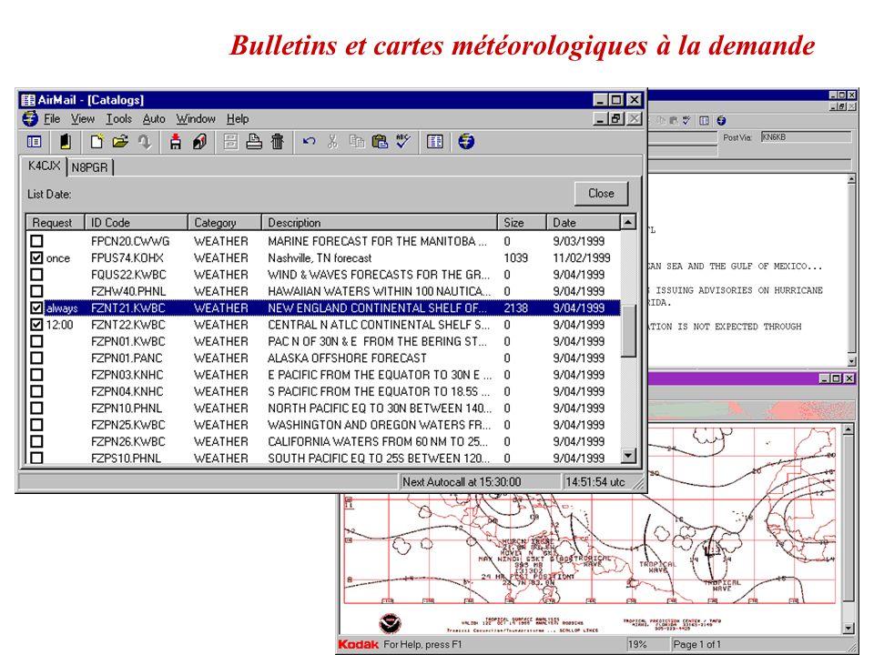 Une arborescence de catalogues pre-chargée avec des info métrologiques et aides à la navigation ou au trafic Winlink2000 est disponible sur Airmail 3.