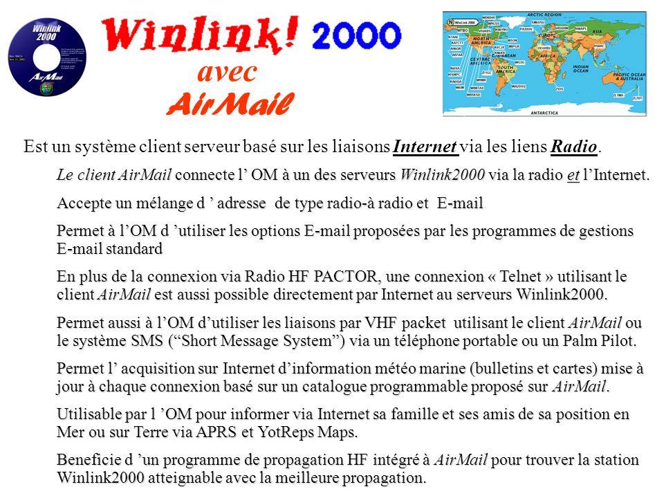 Où que vous soyez dans le Monde ? Vous restez en contact avec Winlink2000 ! Winlink200 est véritablement un réseau Internet Global Radio Amateur conçu