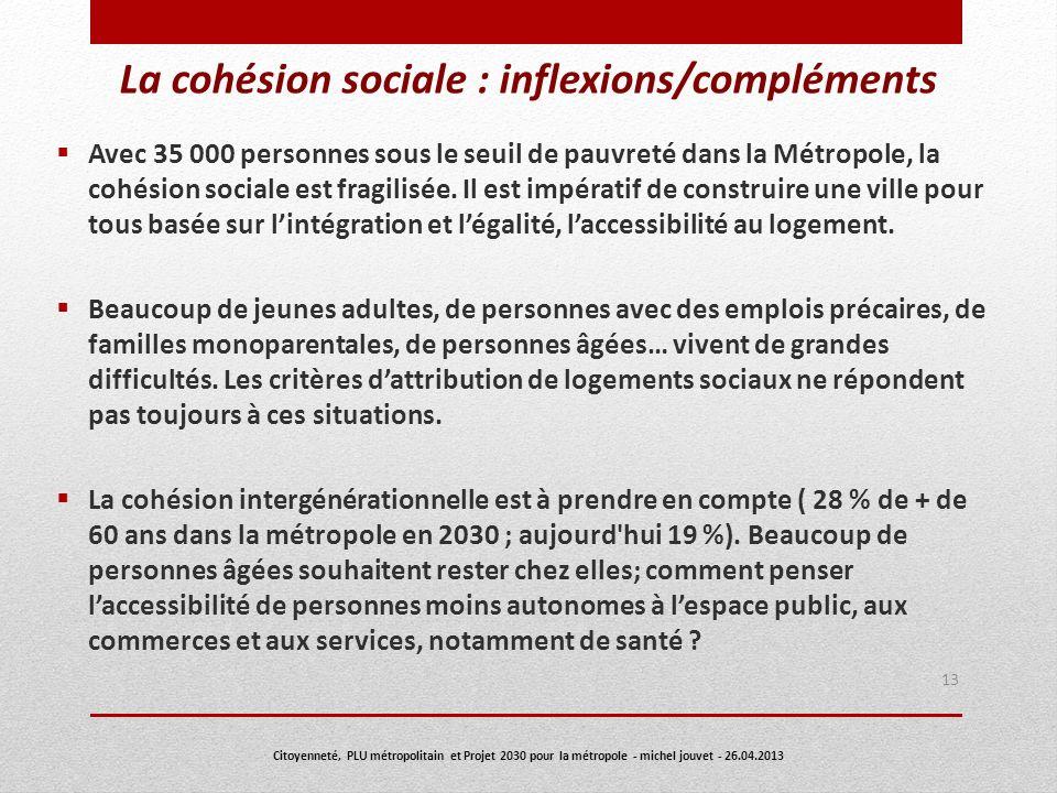 La cohésion sociale : inflexions/compléments Avec 35 000 personnes sous le seuil de pauvreté dans la Métropole, la cohésion sociale est fragilisée. Il