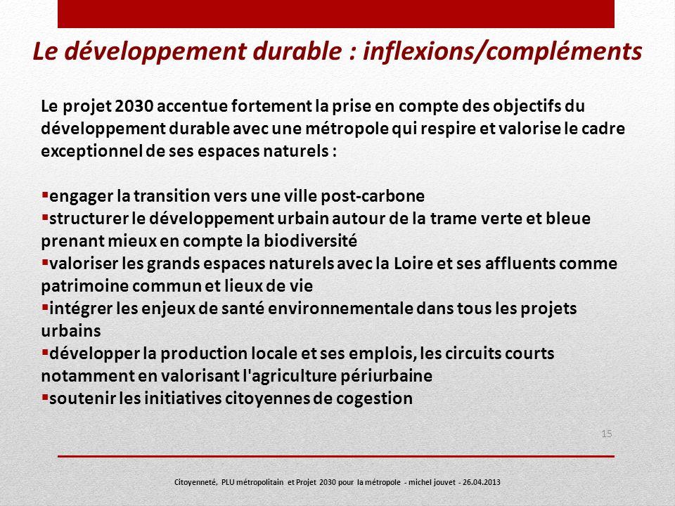 Le développement durable : inflexions/compléments Le projet 2030 accentue fortement la prise en compte des objectifs du développement durable avec une