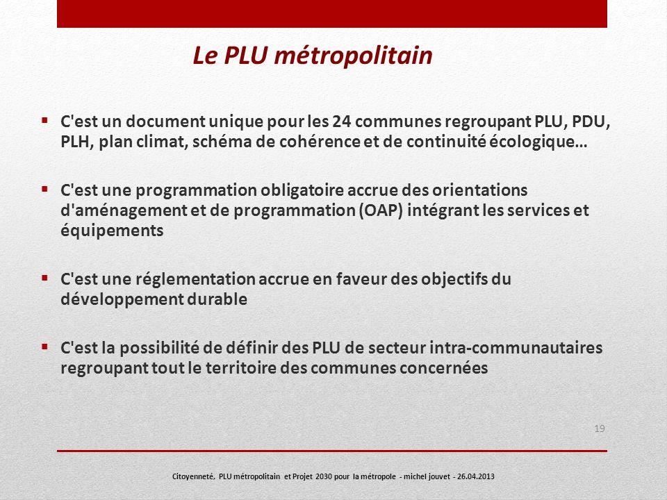 Le PLU métropolitain C'est un document unique pour les 24 communes regroupant PLU, PDU, PLH, plan climat, schéma de cohérence et de continuité écologi