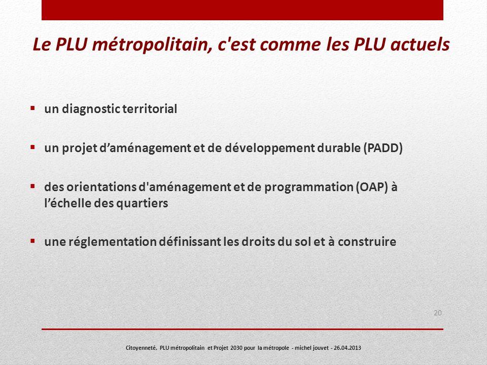 Le PLU métropolitain, c'est comme les PLU actuels un diagnostic territorial un projet daménagement et de développement durable (PADD) des orientations