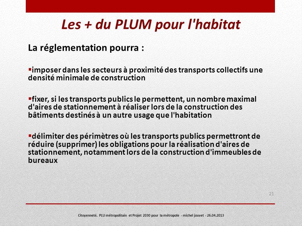 Les + du PLUM pour l'habitat La réglementation pourra : imposer dans les secteurs à proximité des transports collectifs une densité minimale de constr