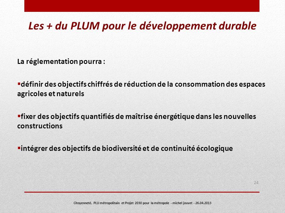 Les + du PLUM pour le développement durable La réglementation pourra : définir des objectifs chiffrés de réduction de la consommation des espaces agri