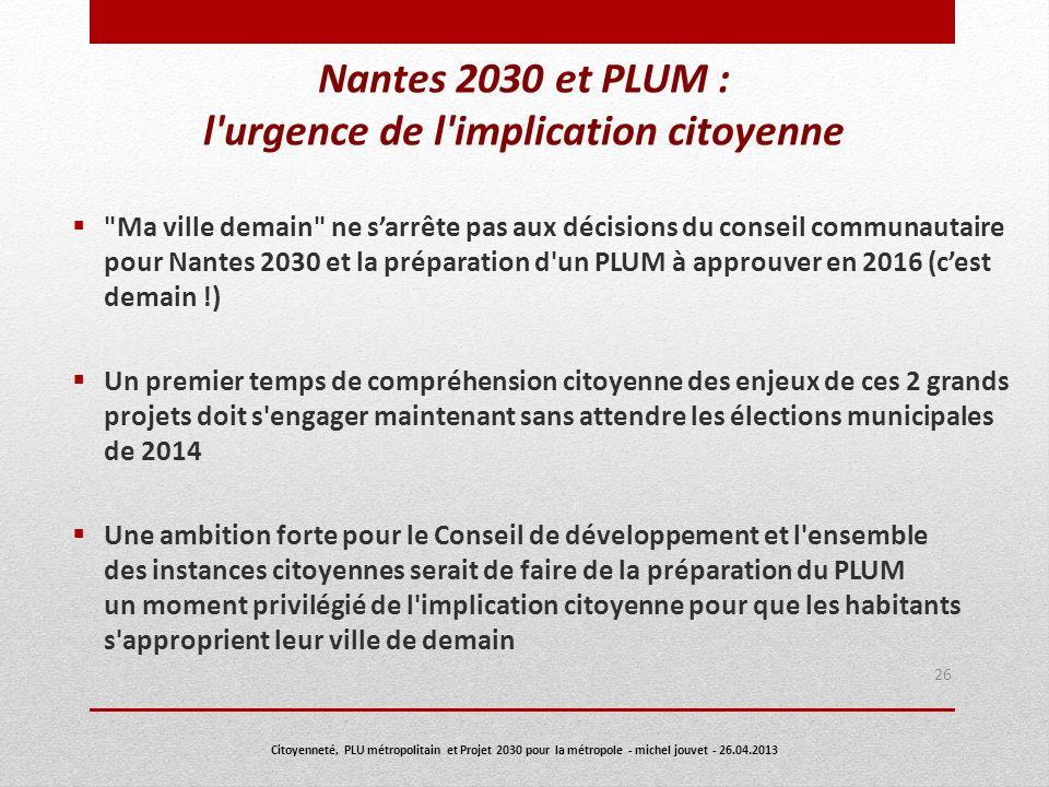 Nantes 2030 et PLUM : l'urgence de l'implication citoyenne