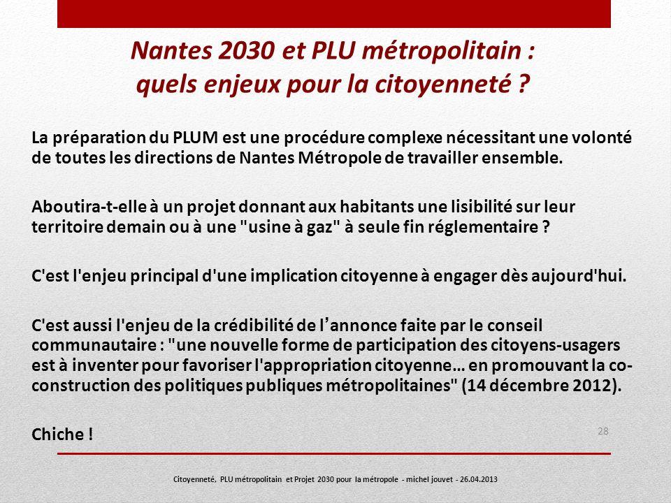 Nantes 2030 et PLU métropolitain : quels enjeux pour la citoyenneté ? La préparation du PLUM est une procédure complexe nécessitant une volonté de tou