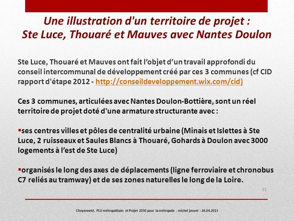 Une illustration d'un territoire de projet : Ste Luce, Thouaré et Mauves avec Nantes Doulon Ste Luce, Thouaré et Mauves ont fait lobjet dun travail ap