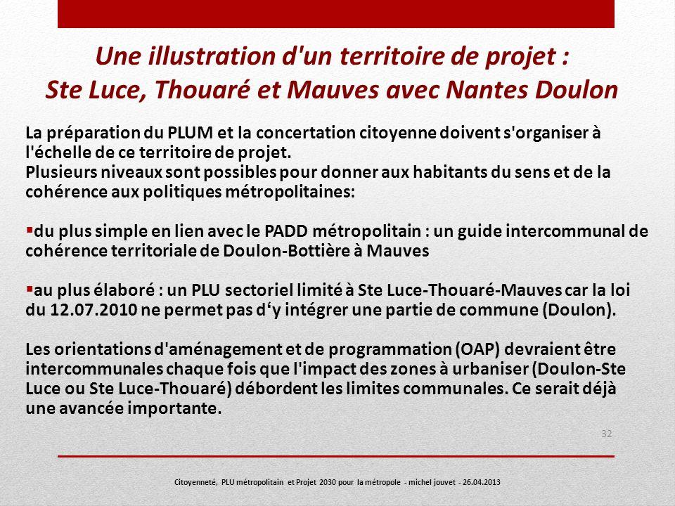 Une illustration d'un territoire de projet : Ste Luce, Thouaré et Mauves avec Nantes Doulon La préparation du PLUM et la concertation citoyenne doiven