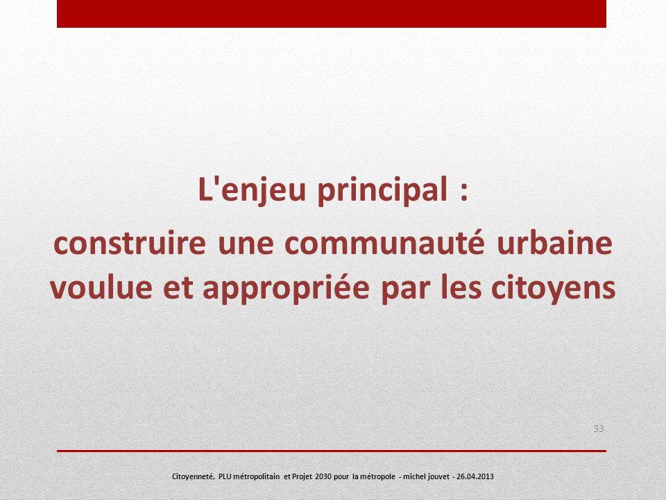 33 Citoyenneté, PLU métropolitain et Projet 2030 pour la métropole - michel jouvet - 26.04.2013 L'enjeu principal : construire une communauté urbaine