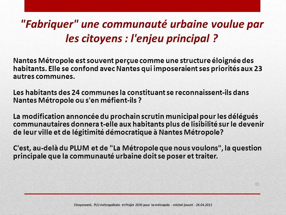 35 Citoyenneté, PLU métropolitain et Projet 2030 pour la métropole - michel jouvet - 26.04.2013 Nantes Métropole est souvent perçue comme une structur
